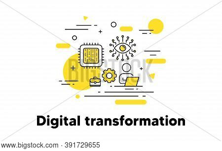 Digital Transformation Line Icon. Artificial Intelligence Concept Illustration. Recruiting And Hire