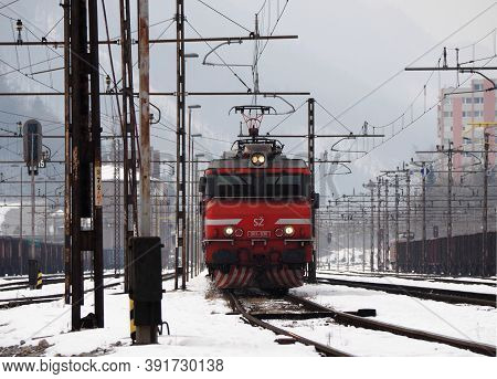 Jesenice, Slovenia - March 2 2018: Slovenian Railways Class 363 Ready To Depart On A Wintery Day.