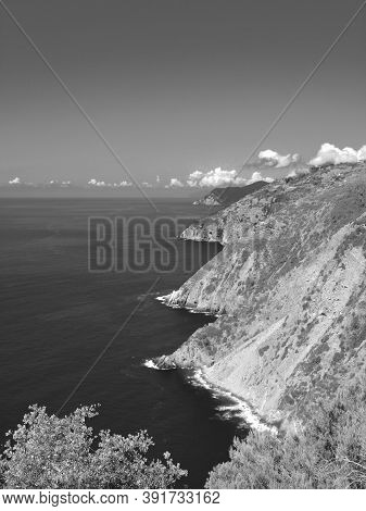 Liguria, Italy - 06/15/2020: Travelling Around The Ligurian Seaside In Summer Days With Beautiful Vi