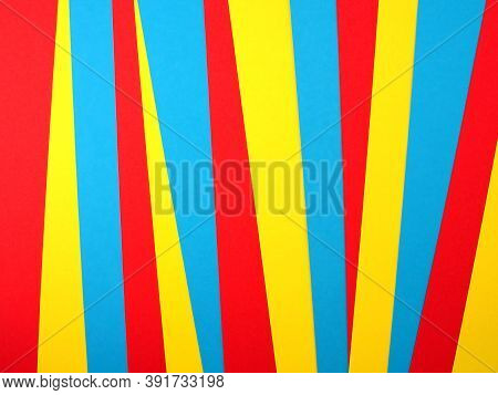 Pile Of Colorful Paper Sheet (red, Yellow, Blue), Colored Paper Stacked Into Geometric Shape And Inc