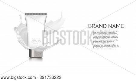 Milk Cleansing Cosmetics Bottle Mockup Banner. Skin Care Cosmetic Product Pump Tube On White Backgro