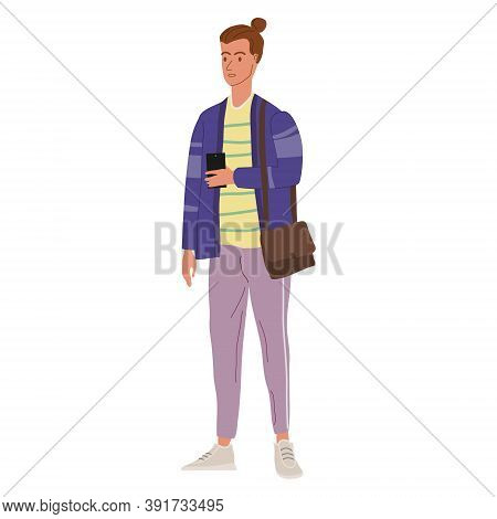 Young Man Student In Modern Autumn Trendy Clothes. Fashion Casual Outerwear Street Style Character.