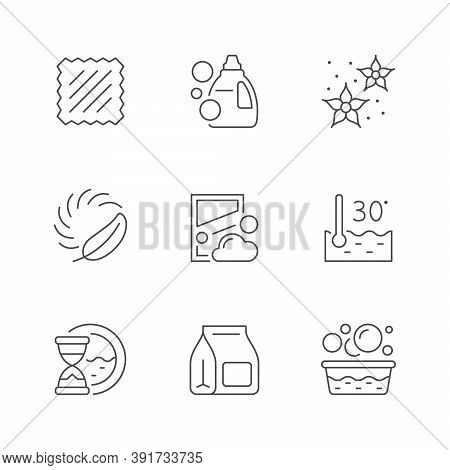 Set Line Icons Of Laundry Isolated On White. Tissue, Detergent, Washing Powder, Purity, Water Temper