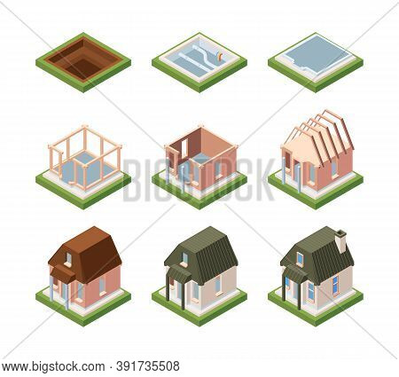 Stages Of Building House Isometric. Excavation Foundation And Laying Communications Formation Of Bui