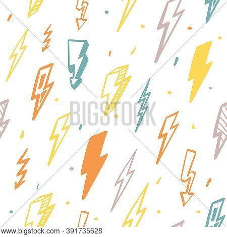 Lightning Seamless Pattern. Orange Flashes Powerful In Green Thunderstorm With Dangerous Yellow Thun