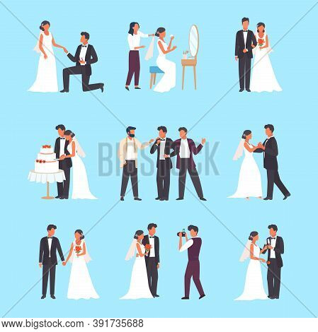 Wedding Ceremony Set. Groom And Bride Holding Glasses Man In Tuxedo Woman White Dress Cutting Weddin