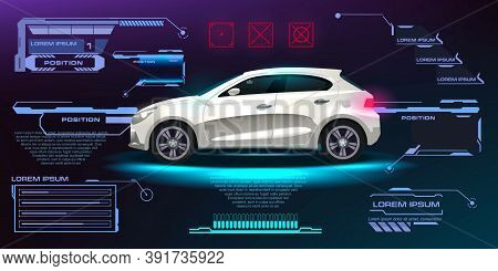 City Car Vector. Futuristic User Interface. Hud Ui. Abstract Virtual Graphic Touch User Interface. C