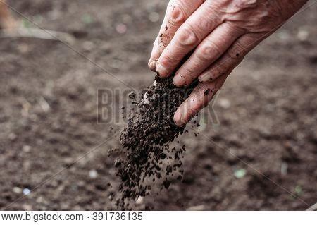 Female Farmer Hands Holding Soil. Environmental Protection Concept