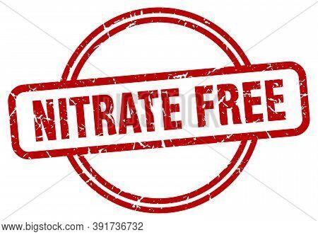 Nitrate Free Grunge Stamp. Nitrate Free Round Vintage Stamp