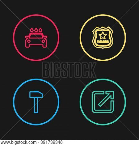 Set Line Hammer, Open In New Window, Police Badge And Car Wash Icon. Vector