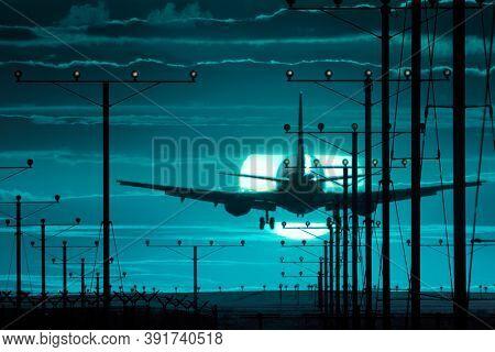 Air plane landing airport runway over full moon in night sky background.