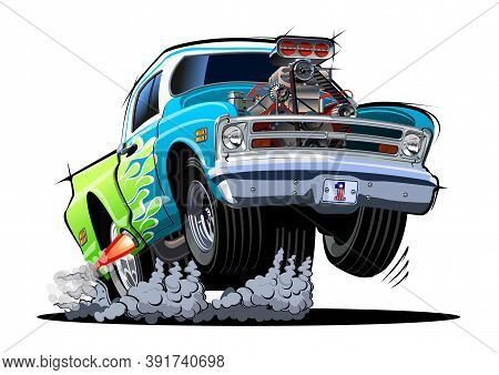 Cartoon Retro Hot Rod Pickup Isolated On White Background. Available Eps-10 Vector Format Separated