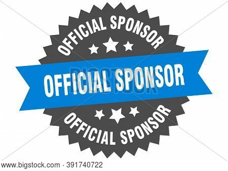 Official Sponsor Round Isolated Ribbon Label. Official Sponsor Sign
