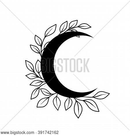 Floral Moon Vector Frame. Tatoo Doodle Wreath. Boho Celestial Frame. Vector Illustration