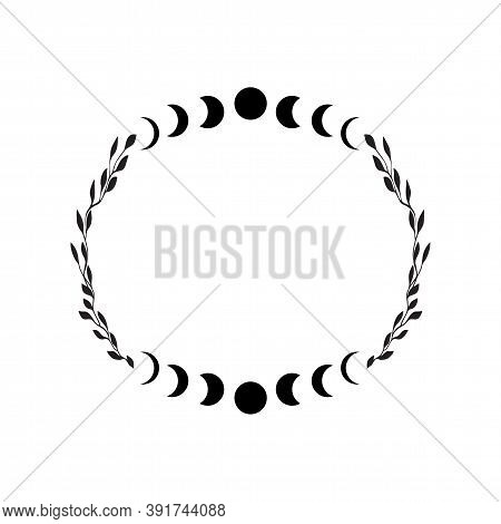 Boho Celestial Frame. Floral Moon Vector Frame. Tatoo Doodle Wreath. . Vector Illustration