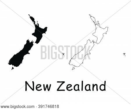 New Zealand Country Map. Black Silhouette And Outline Isolated On White Background. Eps Vector