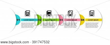 Set Line Mp4 File Document, Txt, Gif And Eml. Business Infographic Template. Vector