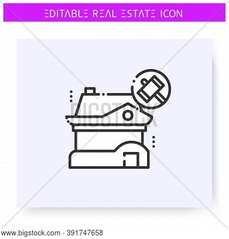 Foreclosure House Line Icon. Mortgaged Property Seized By The Court. Real Estate Agency, Housing Bus