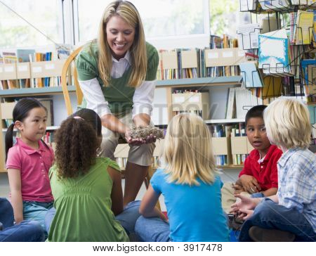 Teacher In Class Showing Students A Nest