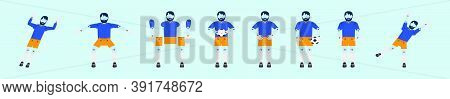 Set Of Goal Keeper Cartoon Icon Design Template With Various Models. Vector Illustration Isolated On