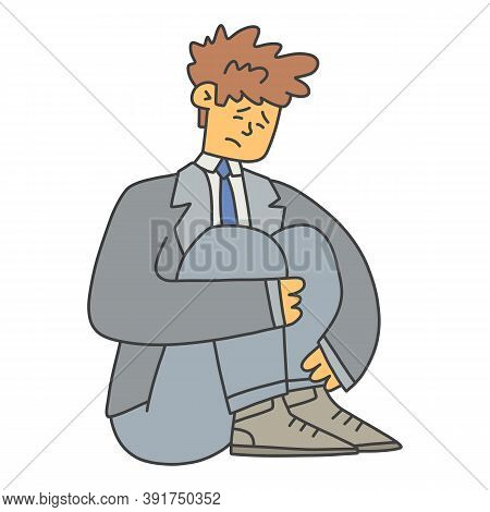 The Man Tucked His Legs And Looks Sadly At The Floor. Concept Guy Needs Psychological Help, Vector I