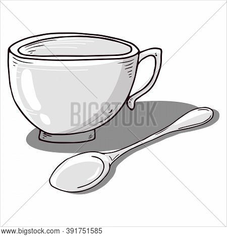 Cup With Spoon Icon. Vector Illustration Of A Coffee Cup With A Small Coffee Spoon. Hand Drawn Cup,