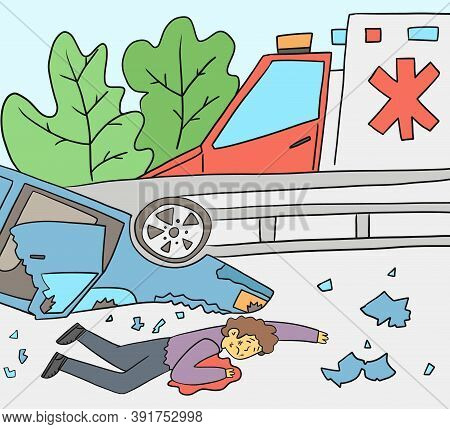 Ambulance Near The Injured Person After An Accident, Vector Illustration. A Man After An Accident Li
