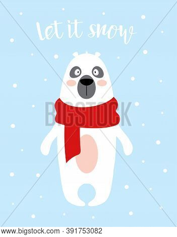Polar Bear Vector Illustration, Winter Card With Cute Animal In Scarf Isolated On Snow And Blue Back