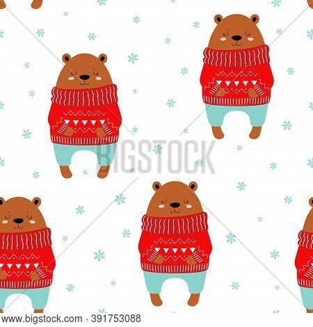 Seamless Cute Pattern With Polar Bear, Snow, Snowflakes, Winter Print With Bear In Sweater, Vector I