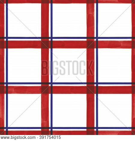 Vector Red Blue Grid Check Seamless Pattern