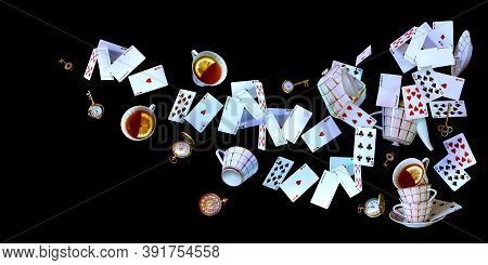 Wonderland Background. Mad Tea Party. Cards, Pocket Watch, Key, Cup And Teapot Falling Down On Black