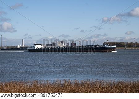 Doel, Belgium, 26 October 2020, Sovereign Is A Inland Motor Tanker And Is Sailing Under The Flag Of