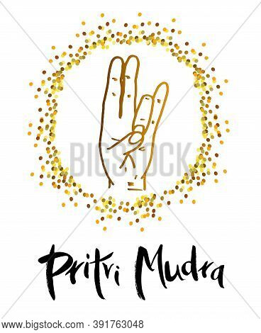 Pritvi Mudra - A Gesture In Yoga With Your Fingers. Symbol In Concept Of Buddhism Or Hinduism. Mudra
