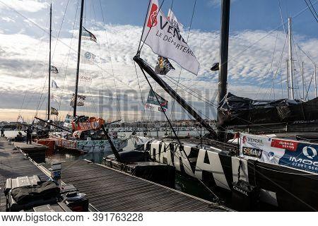 Les Sables D'olonne, France - October 19, 2020: Jeremy Beyou (charal) And Kevin Escoffier (prb) Boat