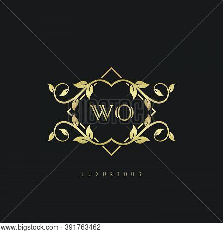Classic Vintage Letter W, O, Wo Logo. Vector Logo Design Concept Classic Vintage With Nature Leaves.