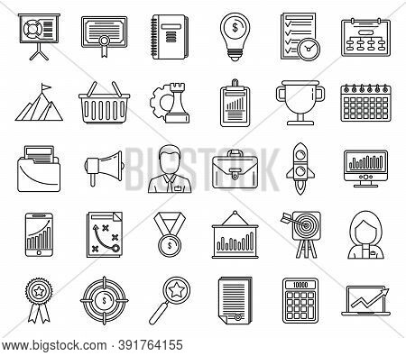 Business Product Manager Icons Set. Outline Set Of Business Product Manager Vector Icons For Web Des