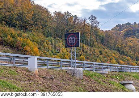 Road Sign Led Display At Highway Road
