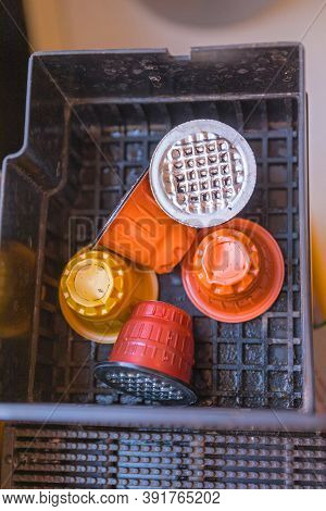 Used Capsule Pods In Coffee Machine Tray Recycling