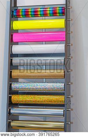 Colourful Vinyl Foils In Rolls At Rack Shelf