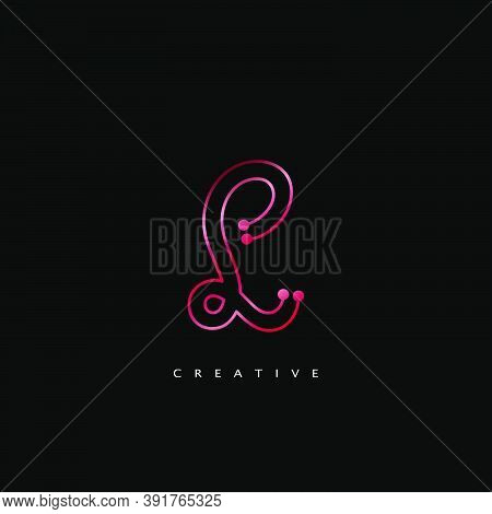 Initial Letter L Line Logo Icon Abstract Techno Vector Design Concept Red Color.
