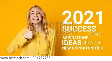I Like 2021 Year. Excited Woman Gesturing Thumbs Up Approving Upcoming New Year Smiling To Camera St