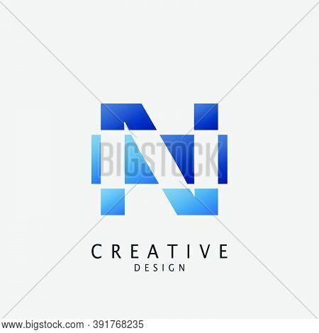 Negative Space Logo N Letter Techno Geometrical, Design Concept Geometric Shape With  Letter N Logo