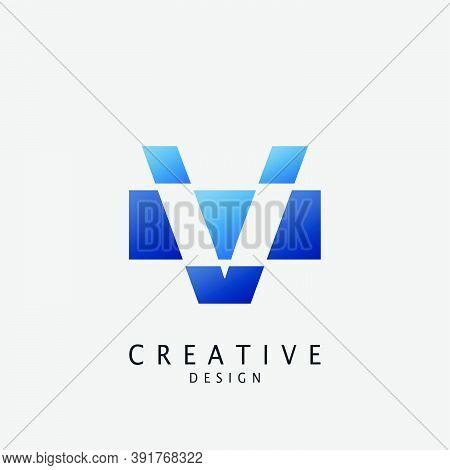 Negative Logo V Letter Techno Geometrical, Design Concept Geometric Shape With  Letter V Logo Icon F