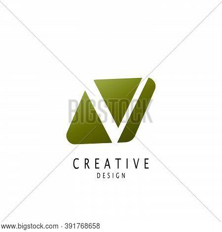Abstract Letter  V Logo. Vector Design Concept Geometrical Shape With Hidden Letter V Logo Icon.