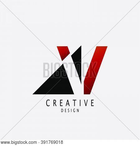 Abstract Techno Letter V Logo. Vector Design Concept Geometrical Shape With  Letter V  Logo Icon.