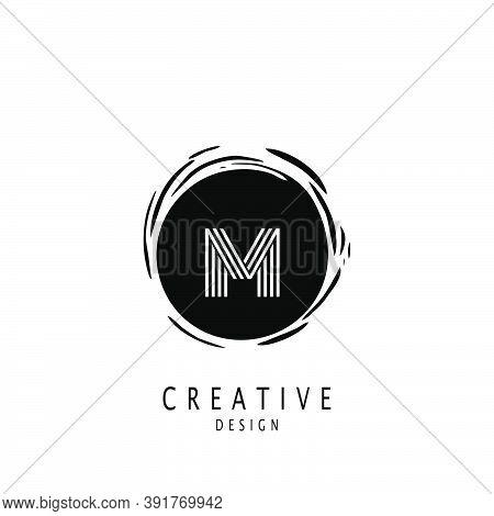 Monogram Circle Sun Letter M Logo. Vector Design Concept Sun Shape With Letter M Logo On Monogram Co