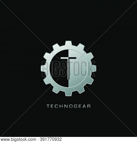 T Letter Logo Techno Gear. Silver Vector Design Concept Gear Shape With Letter Logo For Technology,