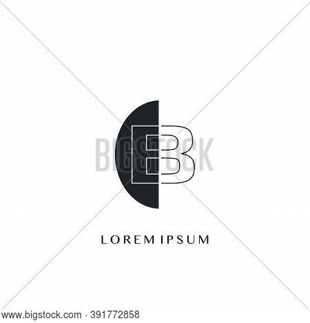 Outline  Letter B Overlap Half Ellipse Polygon Geometric Logo. Monogram Half Ellipse Polygon Geometr