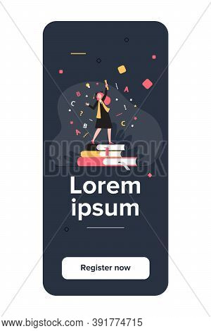 Student Celebrating Graduation. Girl In Gown And Cap With Diploma Dancing On Books Flat Vector Illus