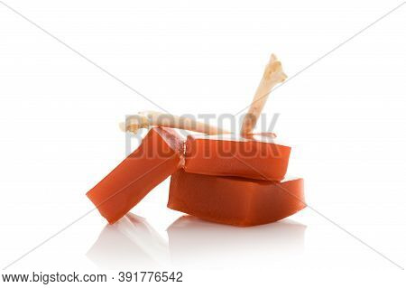Gelatin. Collagen Jelly Isolated On White Background. Amino Acids, Nutritional Supplement For Skin A